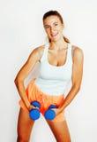 Dünne blonde Frau der Junge recht mit dem Dummkopf lokalisierten netten Lächeln, messend, Diätleutekonzept Stockfotos