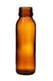 Dünne Brown-Glasflasche verlegte den Mund, der auf weißem backgro lokalisiert wurde Lizenzfreies Stockfoto