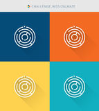 Dünne dünne Linie Ikonen stellte von der Herausforderung u. Auftrag und Labyrinth, moderne einfache Art ein vektor abbildung
