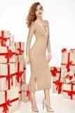 Dünne dünne Zahl moderner modischer Mantel des Abendmakes-up, Kleidungssammlung, Brunette, Geschenkkästen der schönen jungen sexy Stockbild