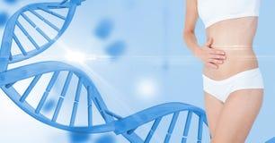 Dünne Frau in der Unterwäsche durch DNA-Struktur Stockbild