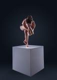 Dünne Frau lässt Yoga Adler aufwerfen   Lizenzfreie Stockfotografie