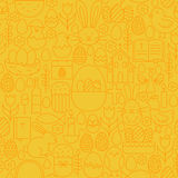 Dünne glückliche Ostern-Linie nahtloses gelbes Muster Stockbild