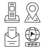 Dünne Ikonen für Visitenkarte Bürotelefon, Markierung auf der Karte, E-Mail, Klicken, zum zur Website zu gehen lizenzfreie abbildung