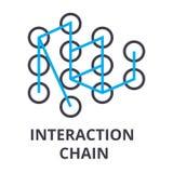 Dünne Kettenlinie Ikone, Zeichen, Symbol, illustation, lineares Konzept, Vektor der Interaktion lizenzfreie abbildung