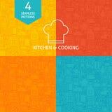 Dünne Linie Art Kitchen Utensils und Kochen des Muster-Satzes vektor abbildung