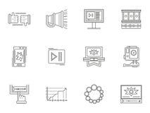 Dünne Linie blogging Ikonen des Artvideos Stockfotografie