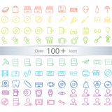 Dünne Linie die exklusiven eingestellten Ikonen der Ikonen enthält Universal-interfac Stockfoto