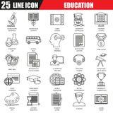 Dünne Linie die Ikonen, die von der Internet-Bildung eingestellt werden und on-line-Kurs studieren lizenzfreie abbildung