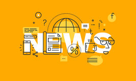 Dünne Linie flache Designfahne für Nachrichtenwebseite Stockfotografie