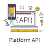 Dünne Linie flache Konzept- des Entwurfesfahne für Softwareentwicklung Ikone der Plattform API Programmiersprache, Prüfung und Wa Stockbild