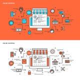 Dünne Linie flache Konzept- des Entwurfesfahnen für das on-line-Einkaufen Stockfoto