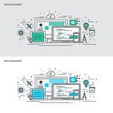 Dünne Linie flache Konzept- des Entwurfesfahnen für Web-Entwicklung Stockbilder