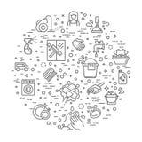 Dünne Linie flaches Design der Reinigungsservicekonzept-Illustration Lizenzfreie Stockbilder