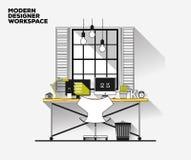 Dünne Linie flaches Design Moderner Designerarbeitsplatz Lizenzfreies Stockfoto