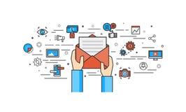 Dünne Linie flaches Design vom E-Mail-Marketing Lizenzfreie Stockfotografie