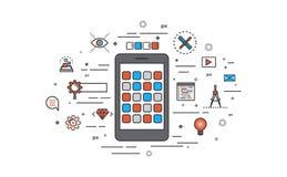 Dünne Linie flaches Design von Apps-Entwicklung Stockfotos