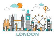 Dünne Linie flaches Design von London-Stadt Moderne London-Skylinevektorillustration, lokalisiert vektor abbildung