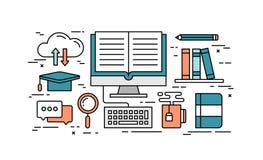 Dünne Linie flaches Konzept des Entwurfes der on-line-Bildung Stockbilder