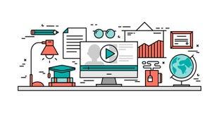 Dünne Linie flaches Konzept des Entwurfes von online lernen Stockfotografie