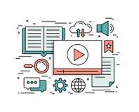 Dünne Linie flaches Konzept des Entwurfes von Videotutorien Stockfotografie