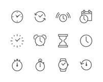Dünne Linie gesetztes in Verbindung stehendes der einfachen Ikone mit Zeit Lizenzfreie Stockfotos