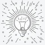 Dünne Linie Ikone der Glühlampe Vektor Lizenzfreies Stockfoto