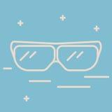 Dünne Linie Ikone von Schutzgläsern Chemisches Laborausstattungsvektorzeichen Illustration der wissenschaftlichen Forschung Lizenzfreie Stockbilder