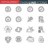 Dünne Linie Ikonen Cryptocurrency Lizenzfreies Stockbild