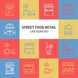 Dünne Linie Ikonen des Straßenlebensmittel-Einzelhandels eingestellt Lebensmittel-LKW, Kiosk, Laufkatze, Radmarktstall, beweglich vektor abbildung