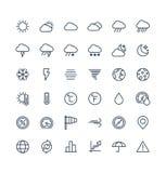 Dünne Linie Ikonen des Vektors stellte mit Wetter- und meteoentwurfssymbolen ein stock abbildung