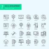 Dünne Linie Ikonen eingestellt Ikonen für seo, Website und APPdesign und -entwicklung Stockbild