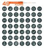 Dünne Linie Ikonen für Geschäft, Schnittstelle, Freizeit und Lebensmittel Vektor eps10 lizenzfreie abbildung