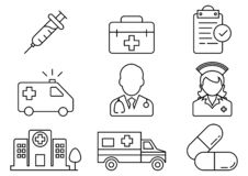 Dünne Linie Ikonen Krankenhaussatz lizenzfreie abbildung