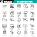 Dünne Linie Ikonen stellte vom Webdesign und von der Entwicklung, Netzkodierung ein vektor abbildung