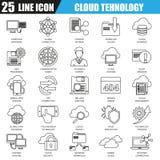 Dünne Linie Ikonen stellte von den Wolkendatentechnologiedienstleistungen, globale Verbindung ein vektor abbildung