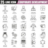 Dünne Linie Ikonen stellte von der Unternehmensentwicklung, vom Geschäftsführungstraining und von der Unternehmenskarriere ein lizenzfreie abbildung