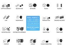 Dünne Linie Ikonensatz Blockchain und des cryptocurrency Perfekte Ikonen des Pixels mit 1 px Linienbreite für optimale APP- und N Lizenzfreie Stockfotos