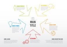 Dünne Linie infographics Schablone mit bunten Pfeilen Lizenzfreie Stockbilder