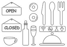 Dünne Linie Lebensmittel-Restaurant-Vektor-Ikonen Minimalistic das Rauchen ist tot ENV 10 Lizenzfreies Stockfoto