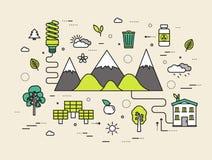 Dünne Linie modernes Illustrationskonzept der natürlichen Ressourcen Infographic-Weise von der Ökologie zur sauberen Energie Ikon stock abbildung