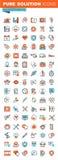 Dünne Linie Netzikonen für ärztliche Bemühungen und Unterstützung Lizenzfreie Stockbilder