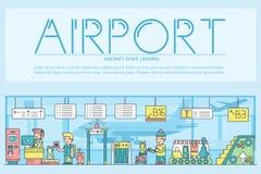 Dünne Linie Personal, das Leute und Gepäck im Flughafendesign bearbeitet und registriert Ausrichtungsentwurf vecto stock abbildung
