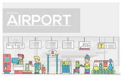 Dünne Linie Personal, das Leute und Gepäck im Flughafendesign bearbeitet und registriert Ausrichtungsentwurf vecto lizenzfreie abbildung