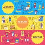 Dünne Linie Personal, das Leutebroschüren-Kartensatz bearbeitet und registriert Gepäck in der Flughafenschablone von flyear, Zeit lizenzfreie abbildung