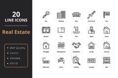 20 dünne Linie Real Estate-Ikonen stock abbildung