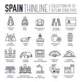 Dünne Linie Reiseferienführer Land-Spaniens von Waren, von Plätzen und von Funktionen Satz Entwurfsarchitektur, Mode lizenzfreie abbildung