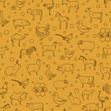 Dünne Linie Sammlung des Viehs Nahtloser Patten Flaches Design Stockfotos