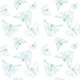 Dünne Linie Schmetterlings-Papier-Origami-Art Vektor-nahtloser Muster-Papier-Origami Lizenzfreies Stockbild