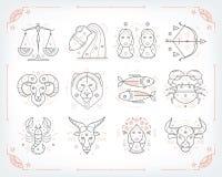 Dünne Linie zodiacal Symbole des Vektors Astrologie, Horoskopzeichen, Grafikdesignelemente, Schablone druckend weinlese lizenzfreie abbildung